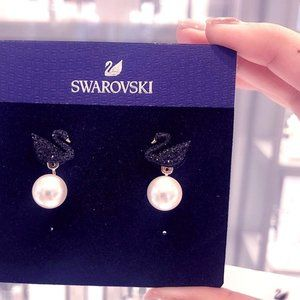 SWAROVSKI ICONIC SWAN black swan earrings